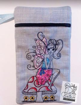 Fairy on Mushroom Tablet Bag - 6x10 - Embroidery Designs