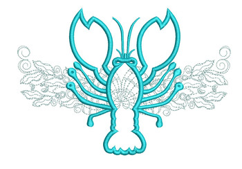 """Lobster Applique with Background- Fits a 5x7, 6x10, and 8x12"""" Hoop - Embroidery Designs"""