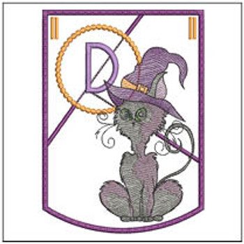 Halloween Cat ABC's Bunting - D - Machine Embroidery