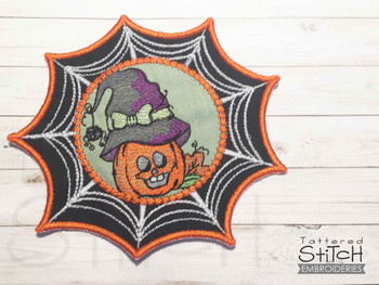 """Pumpkin Witch Web Coaster - Fits in a 5x7"""" Hoop - Instant Downloadable Machine Embroidery"""