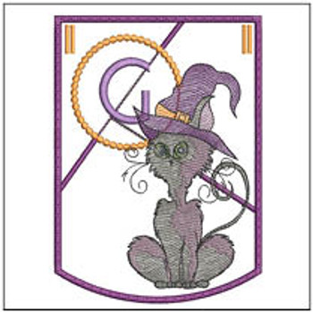 Halloween Cat ABC's Bunting - G - Machine Embroidery
