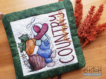 "Country Pumpkin  - Pot Holder- Fits a 6x6, 7x7 & 8x8"" Hoop - Machine Embroidery Designs"