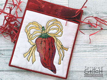 Chili Peppers Potholder   - Instant Downloadable Machine Embroidery - Light Fill Stitch