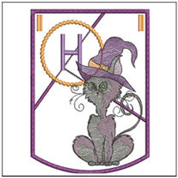 Halloween Cat ABC's Bunting - H - Machine Embroidery