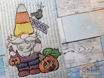"""Treats Gnome -  Fits a 4x4, 5x7 & 6x10""""  Hoop - Machine Embroidery Designs"""