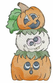 """Stacked Pumpkins-  Fits a 4x4, 5x7 & 6x10""""  Hoop - Machine Embroidery Designs"""