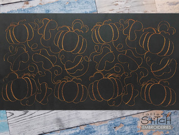 "Pumpkins Edge to Edge Quilt Block  -  Fits a 4x4"", 5x5""  6x6"", 7x7"", 8x8"" & 10x10""  Hoop - Machine Embroidery Designs"