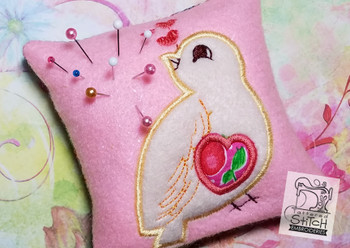 Sweet Finch In the Hoop Pincushion- 4x4 - Embroidery Designs