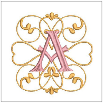 "Monogram Swirls ABCs - Bundle - Fits a 4x4"" Hoop - Embroidery Design"