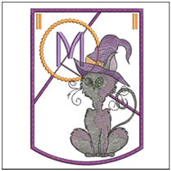 Halloween Cat ABC's Bunting - M - Machine Embroidery