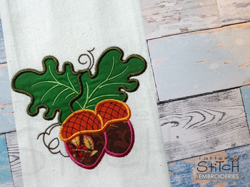 "Acorns Applique-  Fits a 4x4, 5x7 & 8x8""Hoop - Machine Embroidery Designs"