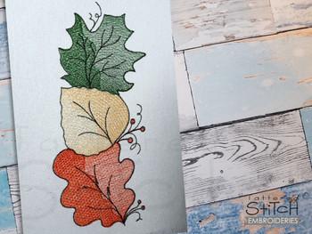 "Leaf Trio-  Fits a 4x4, 5x7 & 6x10""  Hoop - Machine Embroidery Designs"