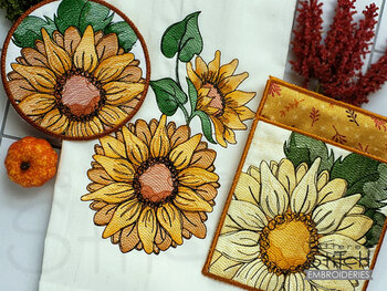 Sunflower Bundle   - Instant Downloadable Machine Embroidery - Light Fill Stitch