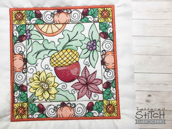 """Acorn Quilt Block  - Fits into a 5x7 & 8x8"""" hoop - Instant Downloadable Machine Embroidery - Light Fill Stitch"""