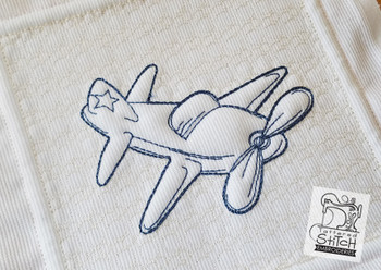 "Trapunto Airplane Quilt Block  - Machine Embroidery Design. 6 x 11"" and 8 x 14"" Hoop Instant Download."