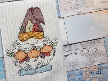 "Pumpkin Picking Gnome -  Fits a 4x4, 5x7 & 8x8""  Hoop - Machine Embroidery Designs"