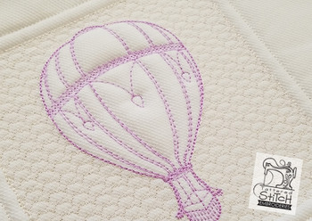 "Trapunto Hot Air Balloon Quilt Block  - Machine Embroidery Design. 6 x 11"" and 8 x 14"" Hoop Instant Download."