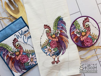 Floral Chicken Bundle   - Instant Downloadable Machine Embroidery - Light Fill Stitch