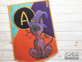 Halloween Cat ABC's Bunting - W - Machine Embroidery