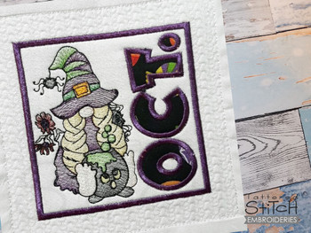 """October Gnome Quilt Block  -  Fits a   6x6"""", 7x7"""", 8x8"""" & 10x10""""  Hoop - Machine Embroidery Designs"""