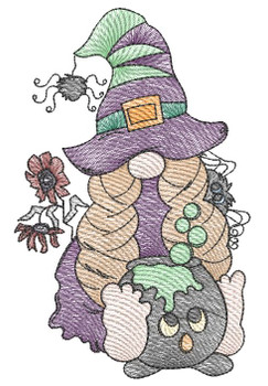 """Gnome with Cauldron -  Fits a 4x4, 5x7 & 8x8""""  Hoop - Machine Embroidery Designs"""