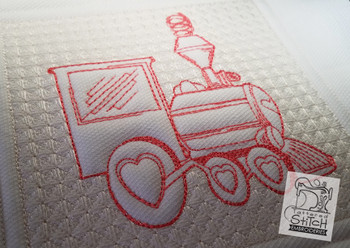 "Trapunto Train Quilt Block  - Machine Embroidery Design. 6 x 11"" and 8 x 14"" Hoop Instant Download."