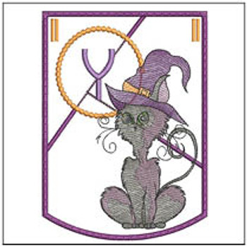 Halloween Cat ABC's Bunting - Y - Machine Embroidery