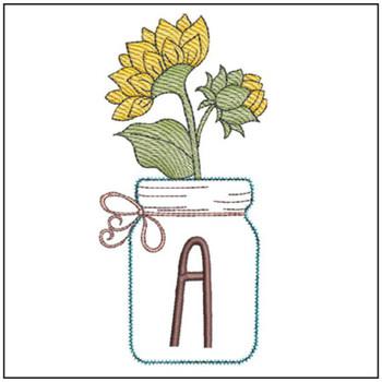 Sunflower Mason Jar ABCs Bundle - Embroidery Designs