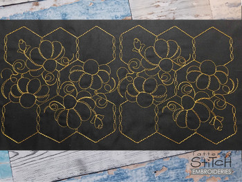 """Floral Chicken Wire Edge to Edge Quilt Block  -  Fits a 4x4"""", 5x5""""  6x6"""", 7x7"""", 8x8"""" & 10x10""""  Hoop - Machine Embroidery Designs"""