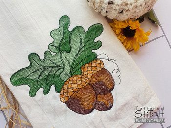 """3  Acorns - Fits a 4x4, 5x7, & 8x8"""" Hoop -Instant Downloadable Machine Embroidery - Light Fill Stitch"""