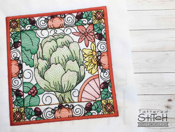 """Artichoke Block  - Fits into a 5x7 & 6x10, 8x8"""" hoop - Instant Downloadable Machine Embroidery - Light Fill Stitch"""