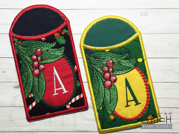 Holly Branch Gift Card ABCs Holder - C - Machine Embroidery