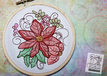 "Poinsettia Cluster - Machine Embroidery Design. 4 x 4 and 5 x 7"" hoop. Instant Download. Water color style stitching. Light Fill stitching."