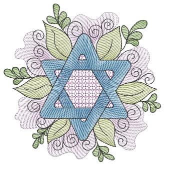 "Star of David  - Fits a 4x4"", 5x5"", 6x6"" & 8x8"" Hoop - Machine Embroidery Designs"