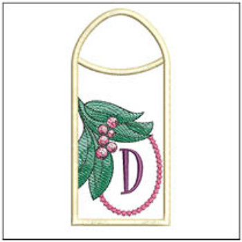 Holly Branch Gift Card ABCs Holder - D - Machine Embroidery