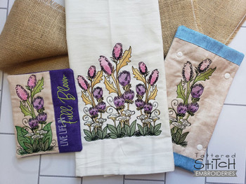 Wildflowers Bundle   - Instant Downloadable Machine Embroidery - Light Fill Stitch