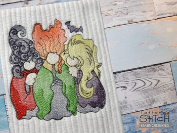 """3 Witch Gnomes -  Fits a 4x4, 5x7 & 8x8""""  Hoop - Machine Embroidery Designs"""