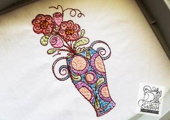 """Floral Vase - Machine Embroidery Design. 4 x 4 and 5 x 7"""" hoop. Instant Download. Water color style stitching. Light Fill stitching."""