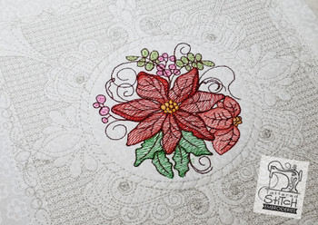 """Poinsettia Cluster Quilt Block- Machine Embroidery Design.  6x6 and 8x8"""" In the Hoop Quilt Block Instant Download."""