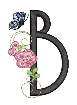 Rosebud Butterfly Font ABCs - B - Embroidery Designs