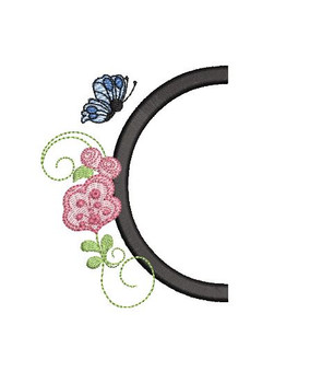 Rosebud Butterfly Font ABCs - C - Embroidery Designs