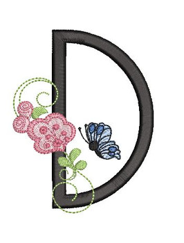Rosebud Butterfly Font ABCs - D - Embroidery Designs
