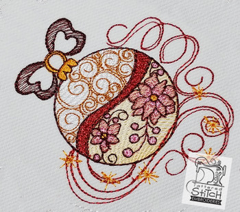 """Ornament - Machine Embroidery Design. 4 x 4 and 5 x 7"""" hoop. Instant Download. Water color style stitching. Light Fill stitching."""