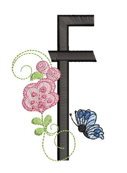 Rosebud Butterfly Font ABCs - F - Embroidery Designs