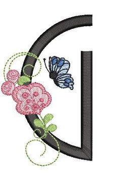 Rosebud Butterfly Font ABCs - G - Embroidery Designs