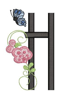 Rosebud Butterfly Font ABCs - H - Embroidery Designs