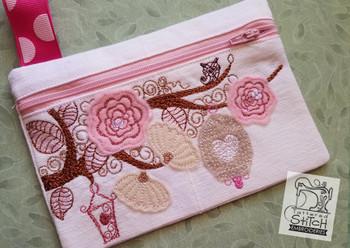 Floral Birdcage Zip Bag - Embroidery Designs
