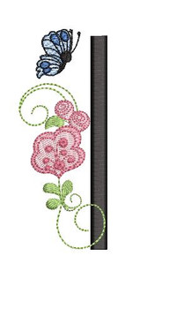 Rosebud Butterfly Font ABCs - I - Embroidery Designs