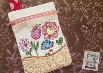 Spring Flowers Zip Bag With Liner - Embroidery Designs