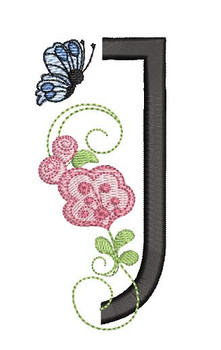 Rosebud Butterfly Font ABCs - J - Embroidery Designs